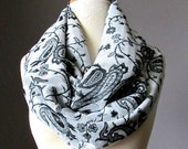 White and Black scarf, Infinity Scarf , Pashmina , Black scarf, White scarf, fall scarf