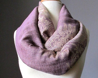 Fern infinity scarf in Mauve , blush scarf,  fall scarf, dusty pink scarf, vintage rose scarf