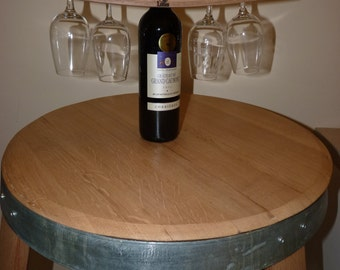 Wine glass holder from French recycled oak wine barrel