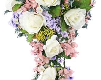 Wildflower Cascade - Artificial Silk Wedding Bouquet