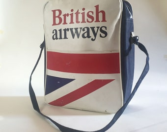 Vintage British Airways Carry On Flight Bag with Shoulder Strap - First Class Passenger