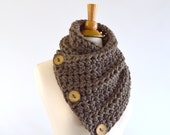 ON SALE Chunky Neck Warmer Cowl Scarf with Three Natural Coconut Shell Buttons // The North Bay // in Taupe