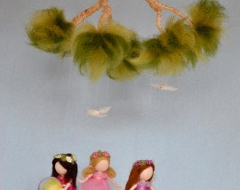 Summer Scene Mobile  Waldorf inspired needle felted dolls: girls playing