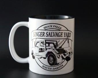 Bobby Singer, Singer Salvage, Supernatural, SPN Gift, Son Family, Winchester Brothers, Hand Printed Mug