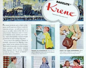 Krene Bakelite Rainwear Ad Raincoat Rain Jacket 1950s Fashion Original Vintage Wall Decor