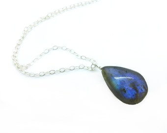 Labradorite Necklace in Sterling Silver, Labradorite Jewelry, Teardrop Pendant