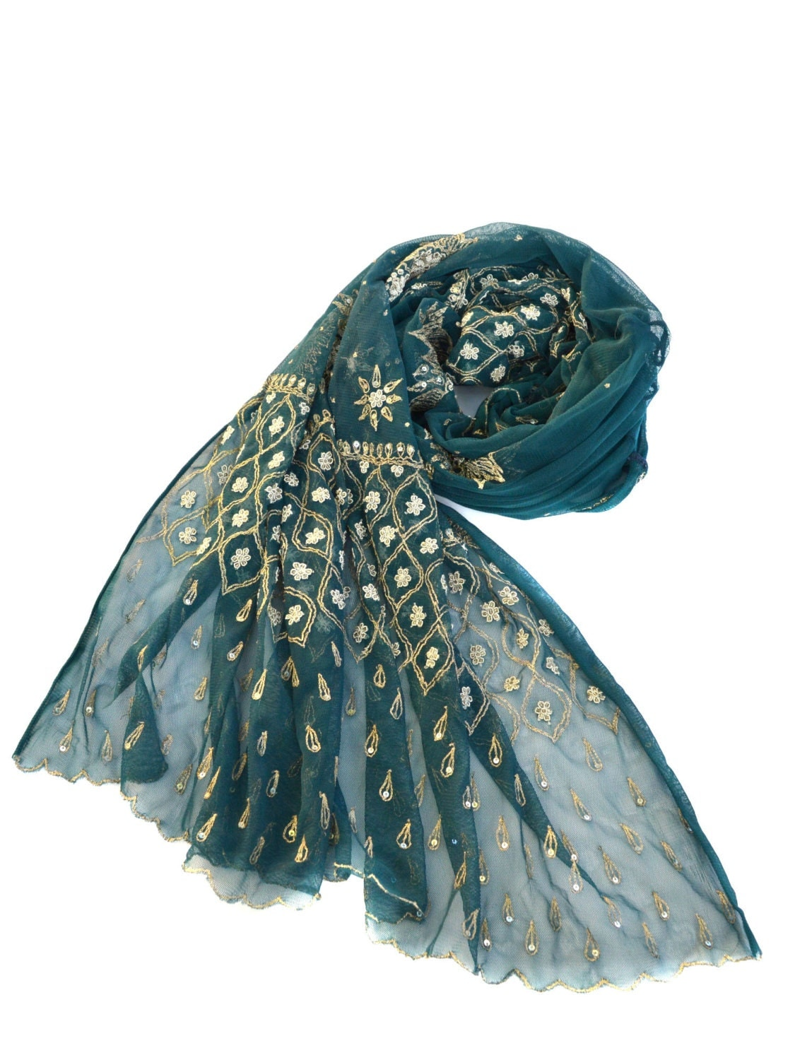 teal beaded shawl embroidered wrap large net scarf evening