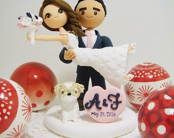 Honeymoon Jitters with a dog Custom wedding cake topper