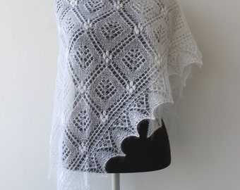 White wedding shawl, hand knitted kidsilk Estonian lace shawl