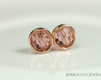 Rose Gold Earrings Swarovski Crystal Stud Earrings Wire Wrapped Jewelry Handmade Rose Gold Pink Stud Earrings Swarovski Crystal Jewelry