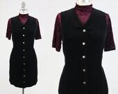 RESERVED FOR GUADALUPE - Vintage 90s Velvet Dress - Button Front Minimalist Black Jumper Day Dress - Snap Up Goth Grunge Dress by Gap