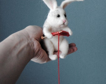 Knitting Rabbit, Needle felted Rabbit, Handmade Animal, Needle Felted Hare, Rabbit Doll - READY TO SHIP