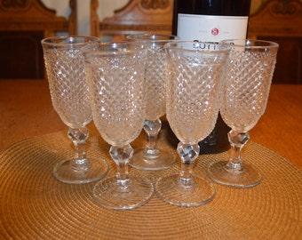 Vintage Footed Diamond Cut Wine Glasses/Set of 5