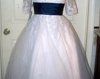 JJs House Wedding Dress/Gown  - Tea Length  - White - Navy Blue Sash - New with Tags - Short Sleeve