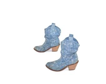 Vintage Blue Denim Ankle Boots Denim Cowboy Boots 80s Denim Boots Denim Cowgirl Boots Ankle Boots Denim