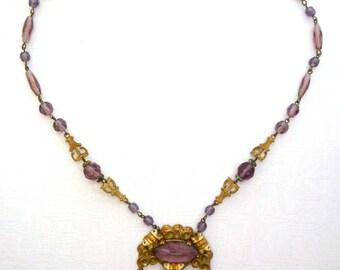 Vintage Necklace with purple Rhinestones, 17,3 inch/ 44cm length, Vintage Costume Jewelry, Bib Necklace in Biedermeier style