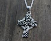 Celtic cross necklace,  Sterling silver Celtic Trinity Knots cross, Choose Your chain, Celtic Cross . Silver Cross, Jewelry. 2168