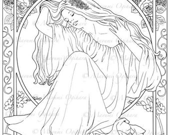 Persephone - digital stamp, colouring page, printable, instant download