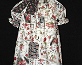 Peasant dress size 3 vintage style print ready to ship MADE in the USA