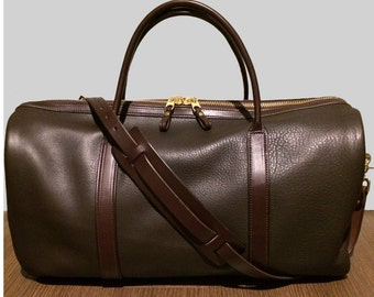 Brown Leather Weekender Bag MAILBOX Shape Handmade in America by Amish Artisans Duffel Duffle Bag Gorgeous Overnight Bag Brass Hardware