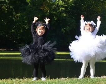 Swan Lake Tutu Dress with Mask, Black or White, Swan Costume,  Swan Lake, Twin costumes