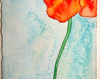 Red Poppy Watercolor Painting Floral Watercolor Flower Gift For Mom Aquarelle Art Floral Gift Grandma Red Poppy Painting Small Art