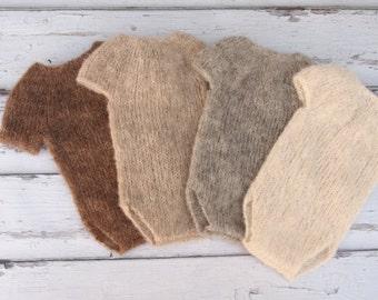 Newborn baby girl, hand knitted  Short Sleeve Onesie with bow tieback set/Romper Overall /Luxury yarn Photography Prop/ Baby Alpaca Romper
