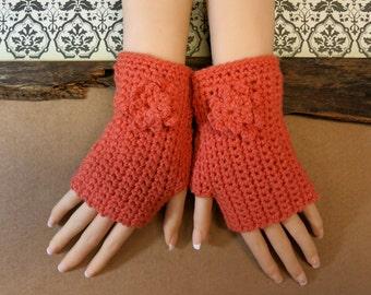 Crochet Fingerless Gloves, Wrist Warmers, Orange Arm Warmers, Crochet Flower, Wool Mittens, Australia, Nchanted Gifts