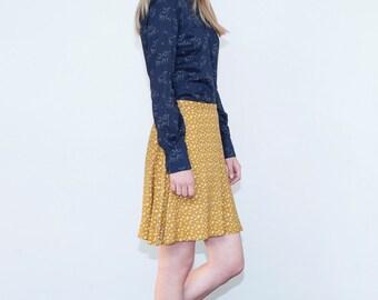 Mustard skirt, Short skirt, Mini skirt, Cats skirt, Autumn skirt