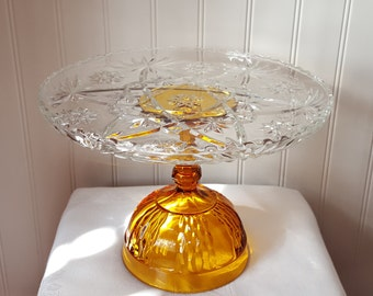 Amber Cake Stand / 13 inch / Wedding cake Stand / Gold Cake Pedestal / Gold Cake Stand / Vintage Glass / Cupcake stand