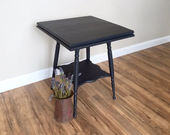 Black Side Table, Vintage Table, Black Accent Table