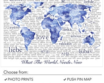 Blue Watercolor World Map Typography Art Print With Watercolor Texture and Love in Various Languages. Love Wall Art Poster Print or Download