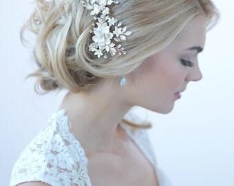 Silver Floral Bridal Clip, Bridal Hair Accessories, Ivory Bridal Hair Clip, Rhinestone Bridal Accessories, Floral Bridal Hair Clip ~TC-2274