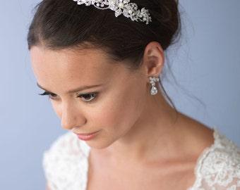 Pearl Wedding Headband, Floral Bridal Headband, Rhinestone Headband, Headband for Wedding, Bride Headband, Bridal Hair Accessory ~TI-3217