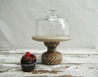Glass Cloche with Wood Pedestal. In Treeskin.
