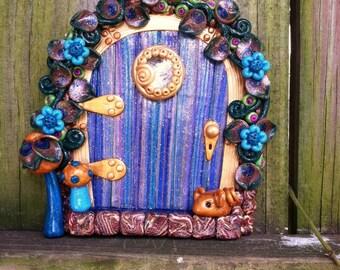 Red rainbow garden fairy door pixie portal by for Rainbow fairy door