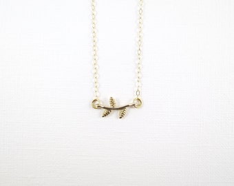 Gold Tiny Branch Necklace- Gold Filled