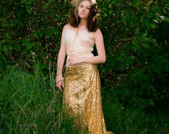 Floor Length Sequined Skirt, Wrapped with Front Slit--in gold, silver or black--for parties, evening wear, or bridesmaids