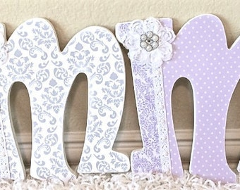 Custom Wooden Nursery Letters - Baby Girl Nursery Decor- Gray and lavender nursery, wall letters- any color, theme, bedding-The Rugged Pearl
