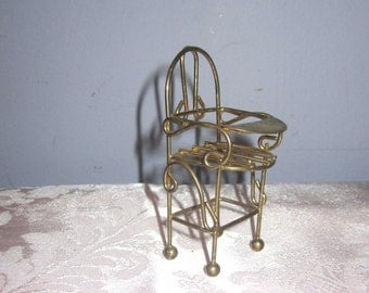 Brass Miniature Baby High Chair Dollhouse figurine furniture collectable - Baby Highchair