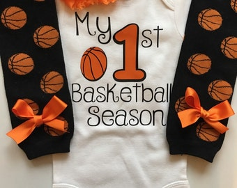 Baby Girl Basketball Outfit - My 1st Basketball Season outfit- Basketball legwarmers - basketball baby outfit - baby girl photo prop