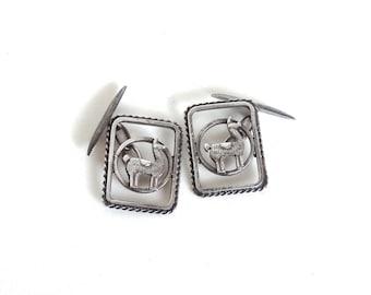 Vintage Sterling Silver Llama Cufflinks Handmade Peru South American Southwest Country Western Mens Mans Accessory Gift Idea