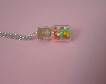 Gumball necklace, bottle charm, miniature food jewelry, candy necklace, gumball charm, rainbow necklace