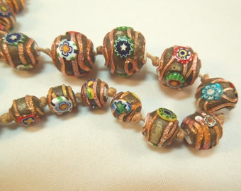 Venetian Millefiori and Foil Glass Bead