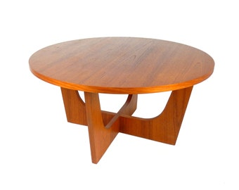 Mid Century Modern Round Teak Coffee Table 1960's 1970's Large Coffee Table Scandinavian Design Retro Home Decor Danish Modern Furniture