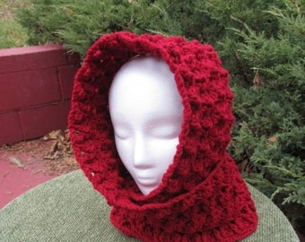 Crocheted Hooded Scarf / Red / Deep Red / Burgundy /Scarf / Hood / Hat