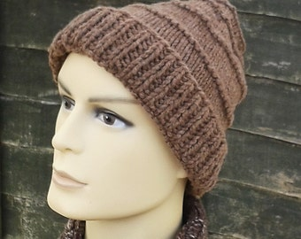 Manx Loaghtan knitted hat, chunky beanie hand knit from rare breed British wool mens hat.