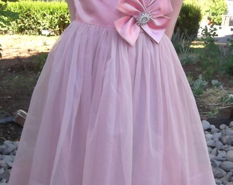 VINTAGE PINK DRESS 1960's Swiss Dot Bow Size Small