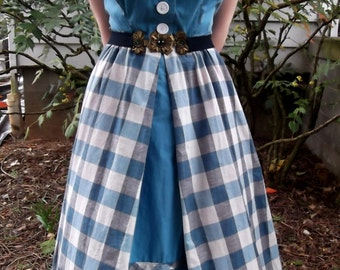 VINTAGE GINGHAM DRESS 1950's Blue Retro Size Small
