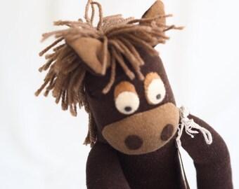 Handmade sock horse, plush pony, softie horse. Brown toy horse. Harry horse.